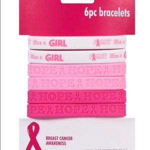 Breast Cancer Awareness Silicone Bracelets, 6 pk